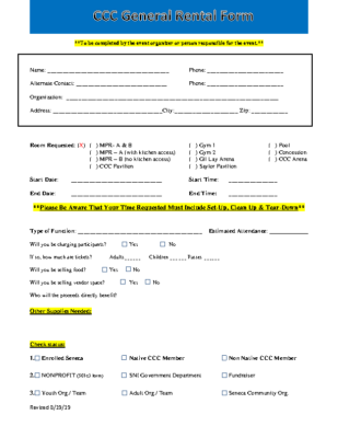 New Rental Form 2019